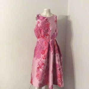 WHBM Pink Floral Flared Skirt Dress 8 P